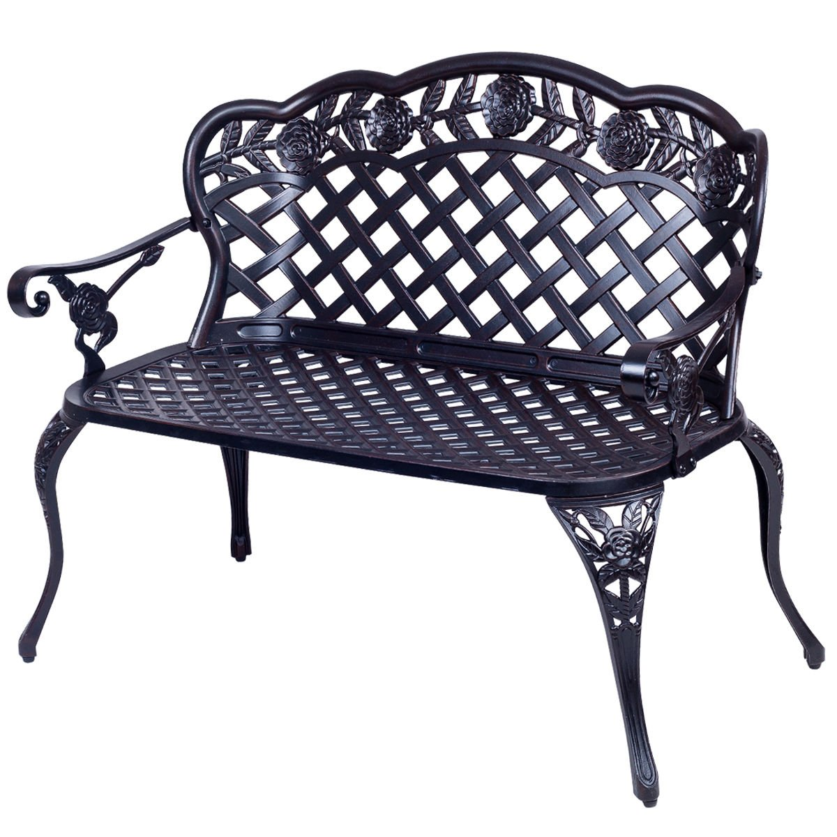 Amazon com giantex 42 5 patio garden bench cast aluminum park yard seating antique outdoor furniture seat rose design garden outdoor