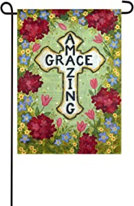 Evergreen Flag Indoor Outdoor Décor for Homes Gardens and Yards Amazing Grace Cross Garden Suede Flag