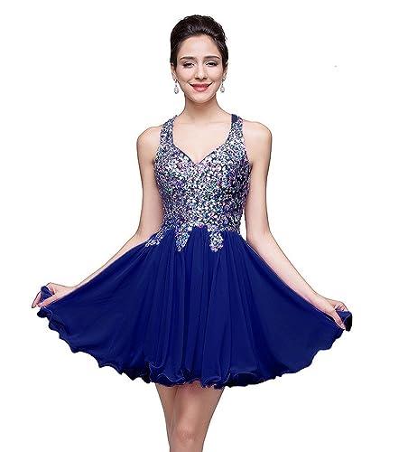 MisShow Juniors Short Crystal Chiffon Homecoming Prom Dress