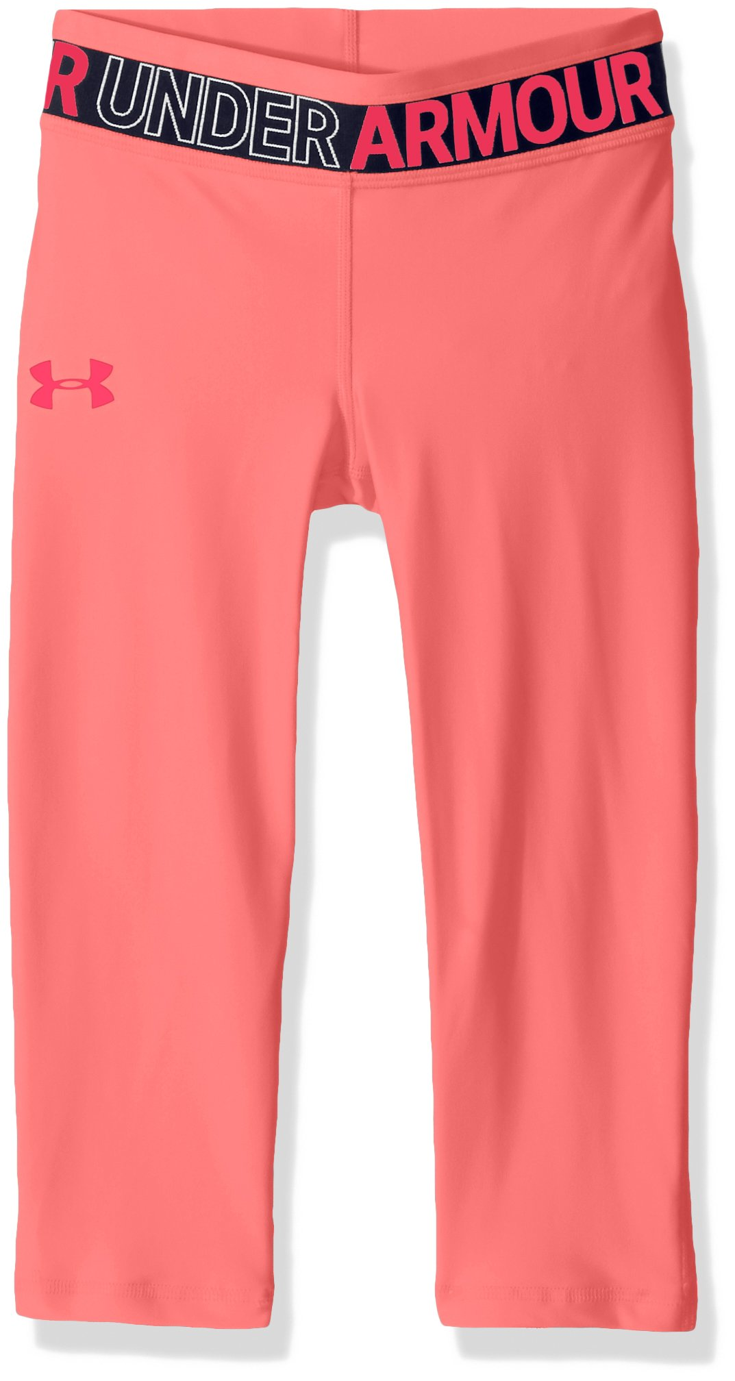 Under Armour Girls' HeatGear Armour Capris, Brilliance /Coral Cove, Youth Large