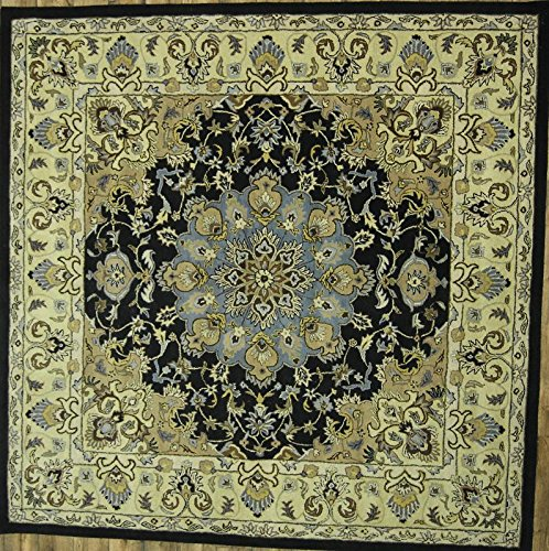 Rug Source One-of-A-Kind New Oushak All-Over Floral Hand-Tufted 10x10 Black Wool Oriental Area Rug (9' 10