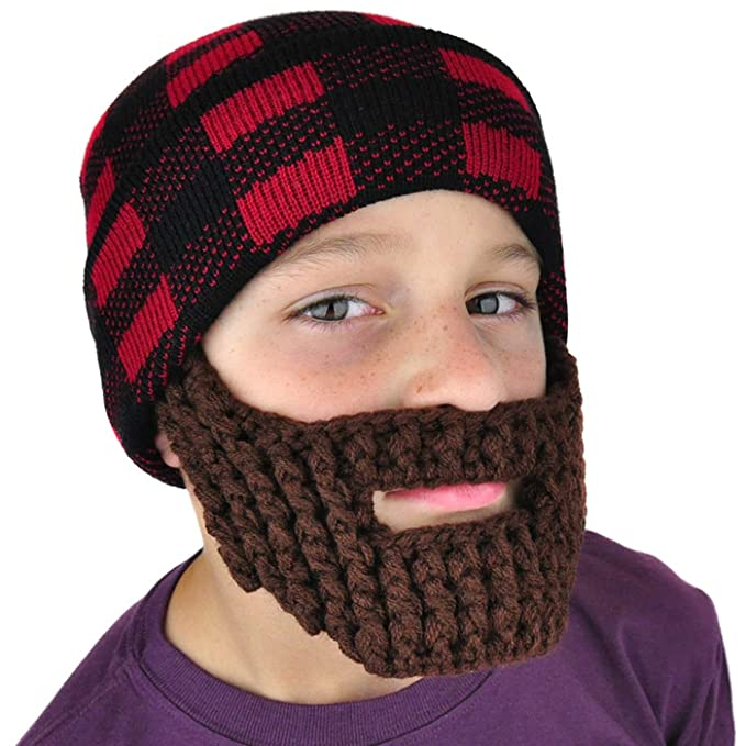 b198f635 Neon Eaters Beanie with Beard Winter Hat - Lumberjack Boys Fun Kids ...