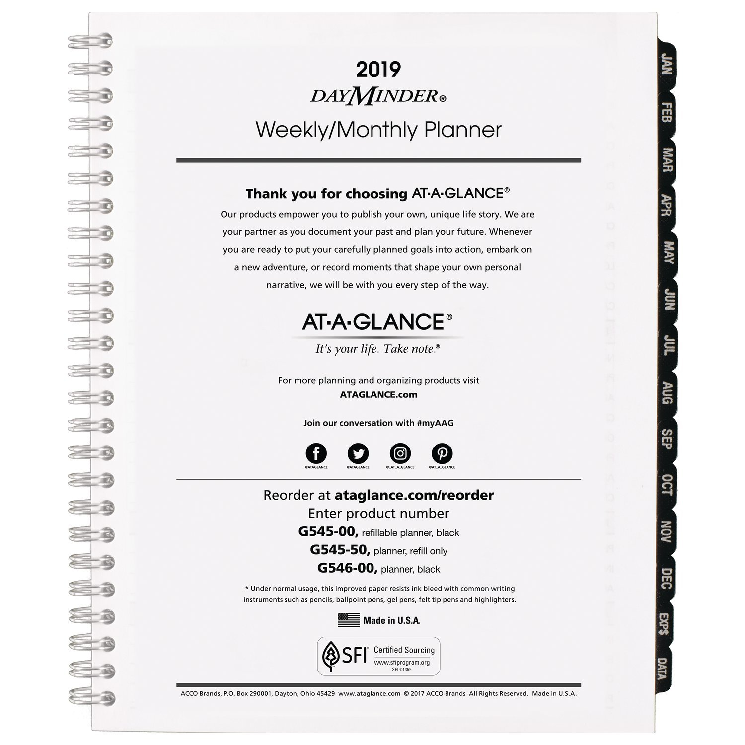 at-A-Glance DayMinder Weekly/Monthly Refill for #G545 Line Planners, January 2019 - December 2019, 6-7/8'' x 8-3/4'', Executive, Wirebound (G54550)