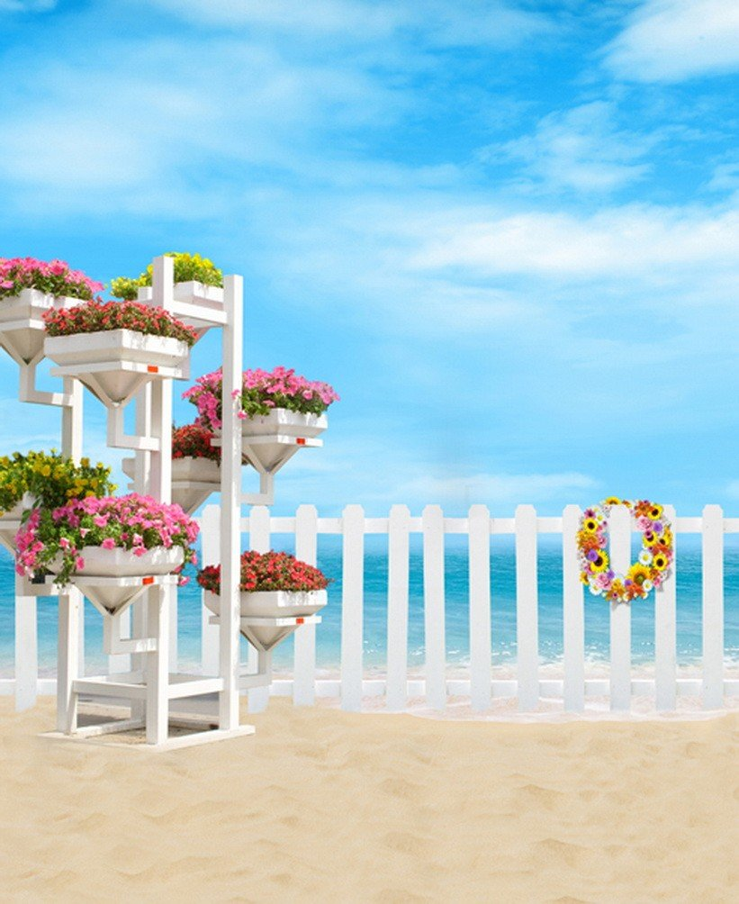 A Monamour Clear Blue Sky White Clouds Sea Shore景色印刷写真の背景幕シンビニール布壁画   B01KTOBFOQ
