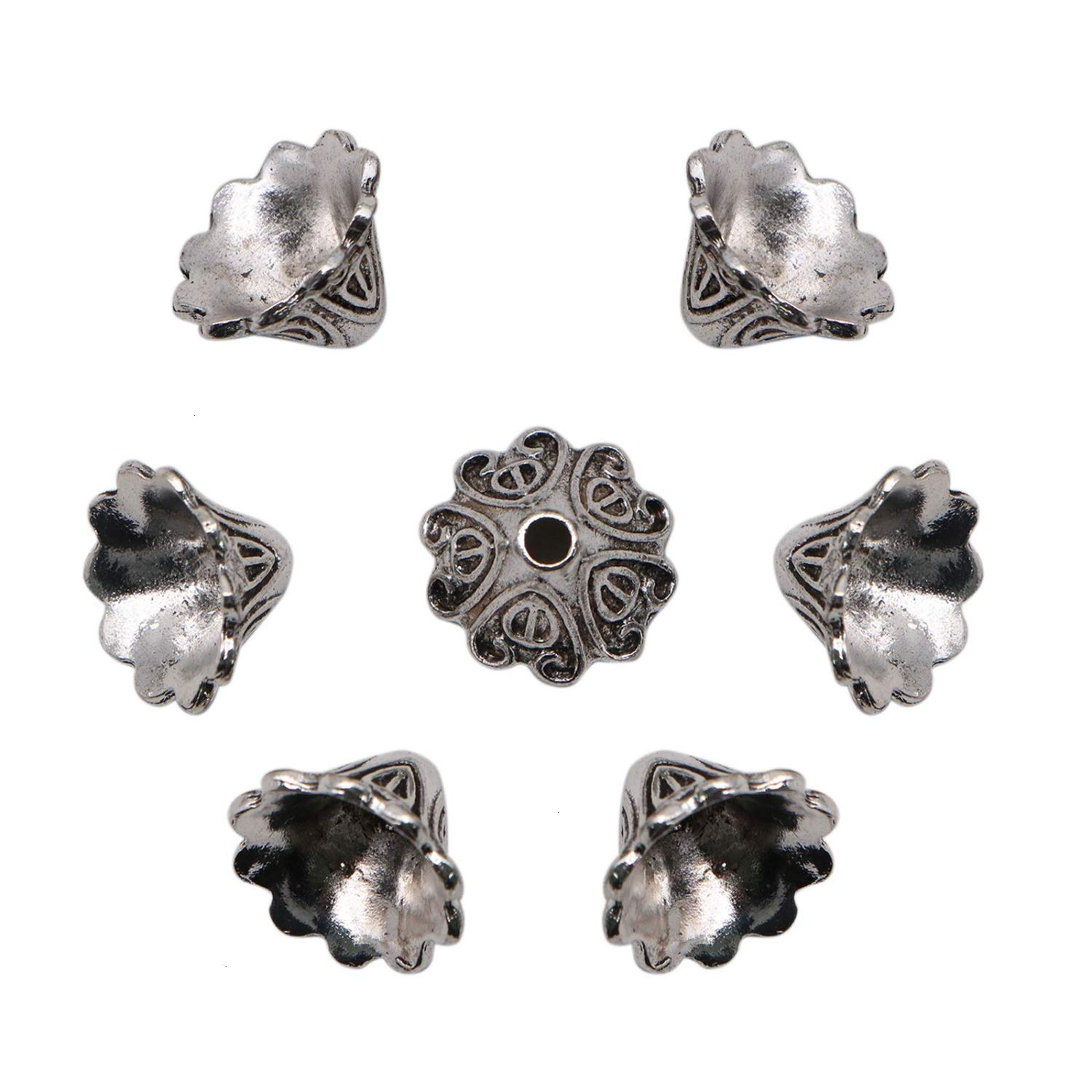 10mm16mm​,Tibetan Style JETEHO 50 PCS Flower Bead Caps Tassel Cup Shape End Cap Lead Free Antique Silver Jewelry Making
