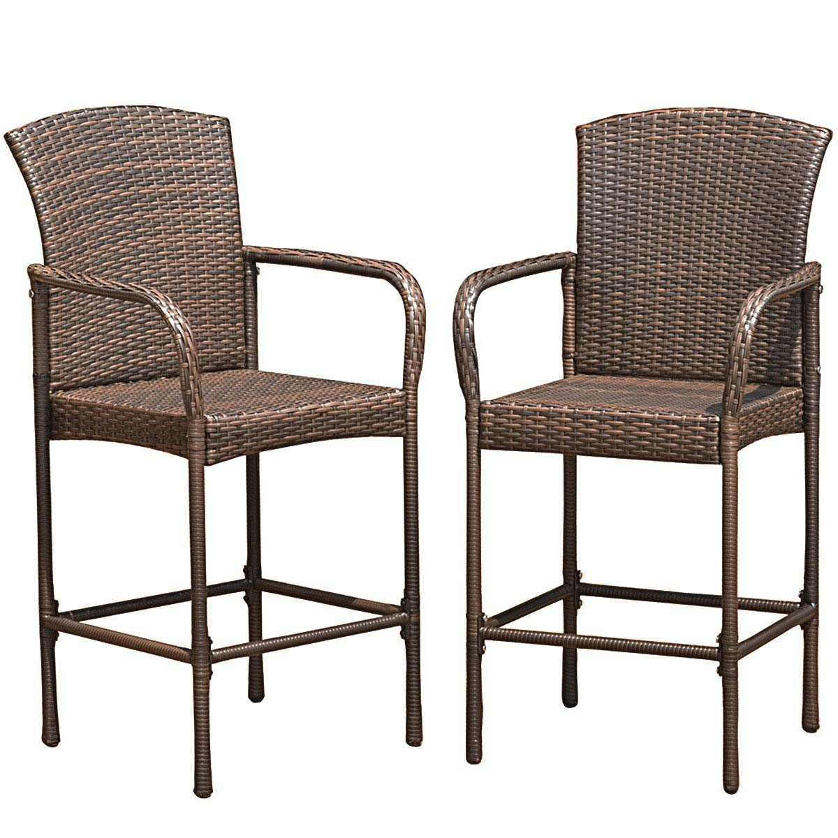 COSTWAY Rattan Wicker Bar Stool Outdoor Backyard Chair Patio Furniture with Armrest Set of 2 by COSTWAY