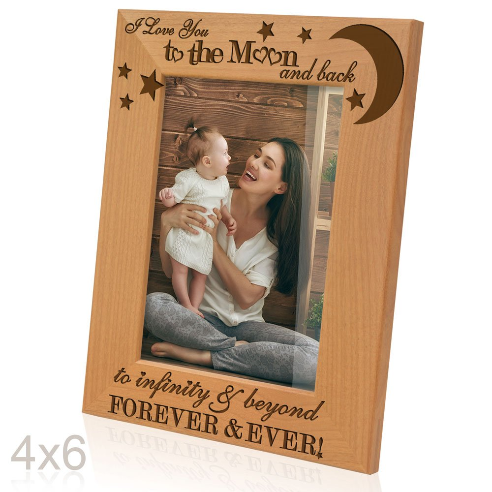 Kate Posh - I love you to the moon and back, to infinity & beyond, forever & ever - Engraved Solid Wood Picture Frame (4x6-Vertical) by Kate Posh (Image #2)