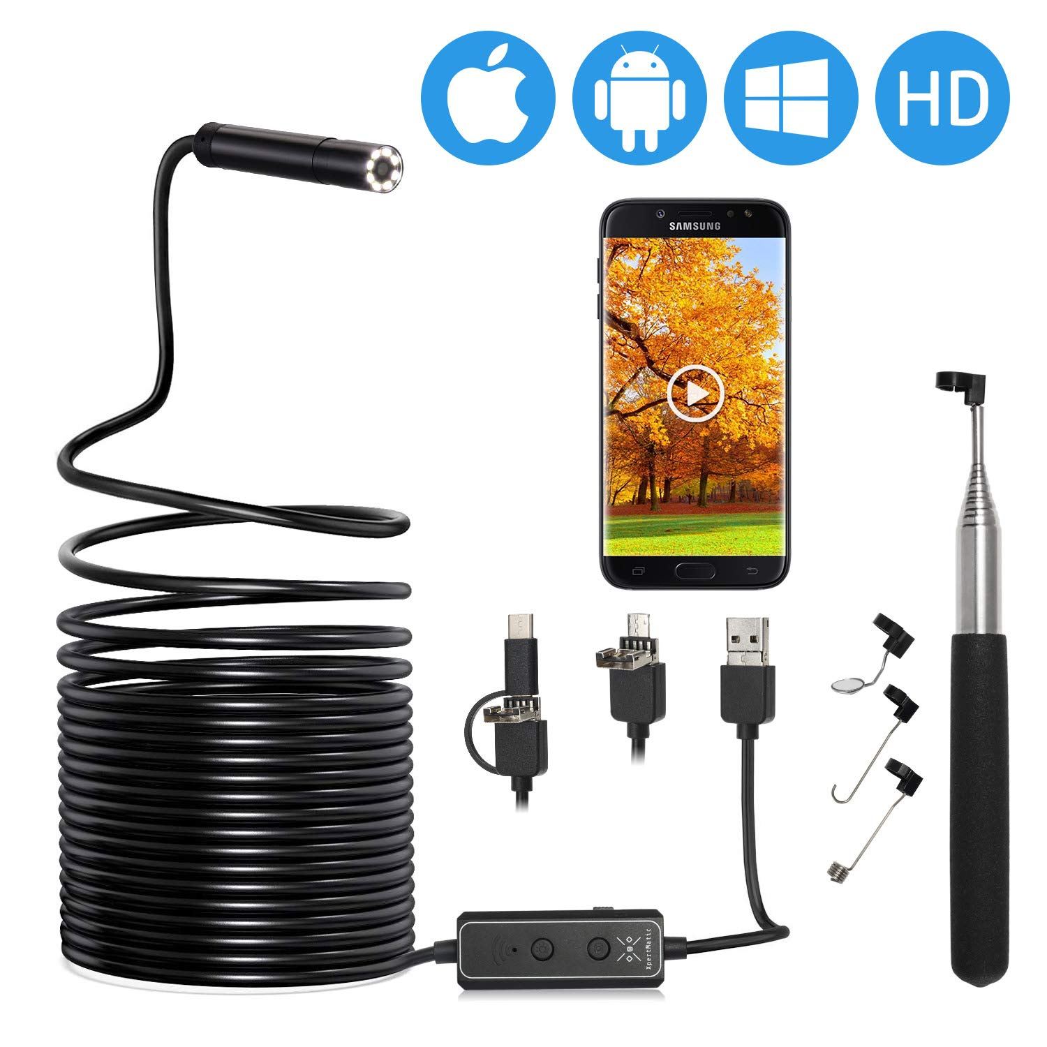 5m Semi-rigid PC XpertMatic F160 WiFi//USB 2-in-1 Endoscope 16.4ft Focal Distance Borescope 2.0 MP HD Waterproof Inspection Snake Camera with 8 LEDs for iPhone and Android Phone MacBook