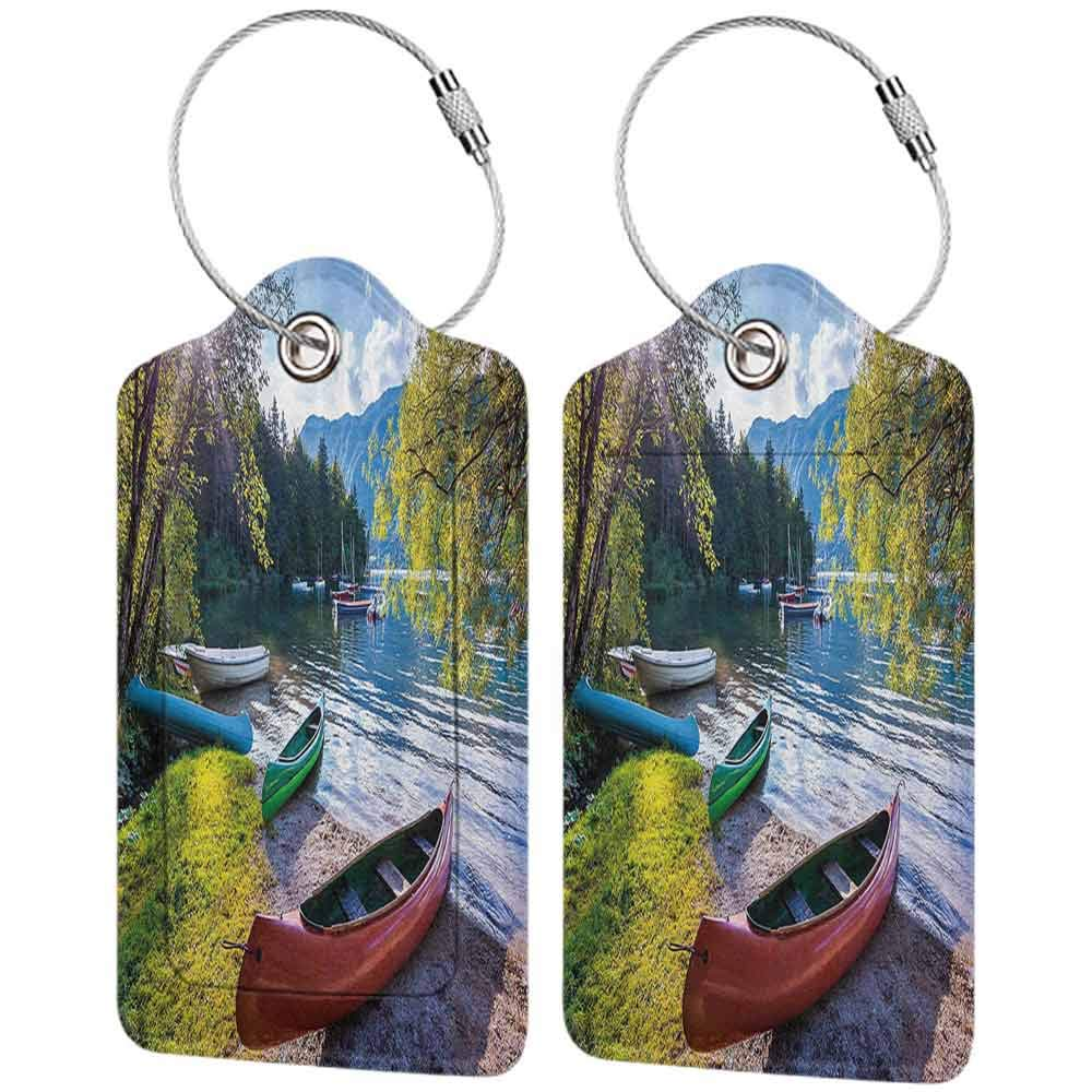 Modern luggage tag Landscape Bohinj Lake with Boats Canoes Triglav National Park Julian Alps Slovenia Print Suitable for children and adults Multicolor W2.7 x L4.6