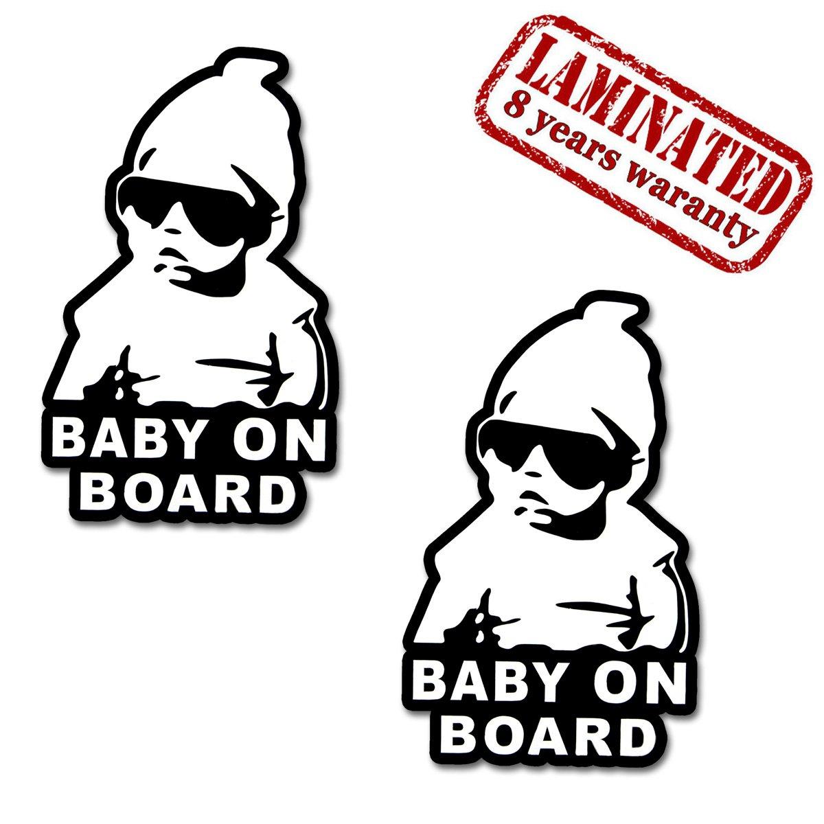 2 x Adesivi Vinile Stickers Autoadesivi Bebè A Bordo Baby On Board Bambino Per Auto Moto Finestrìno Porta Tuning B 167 Skino