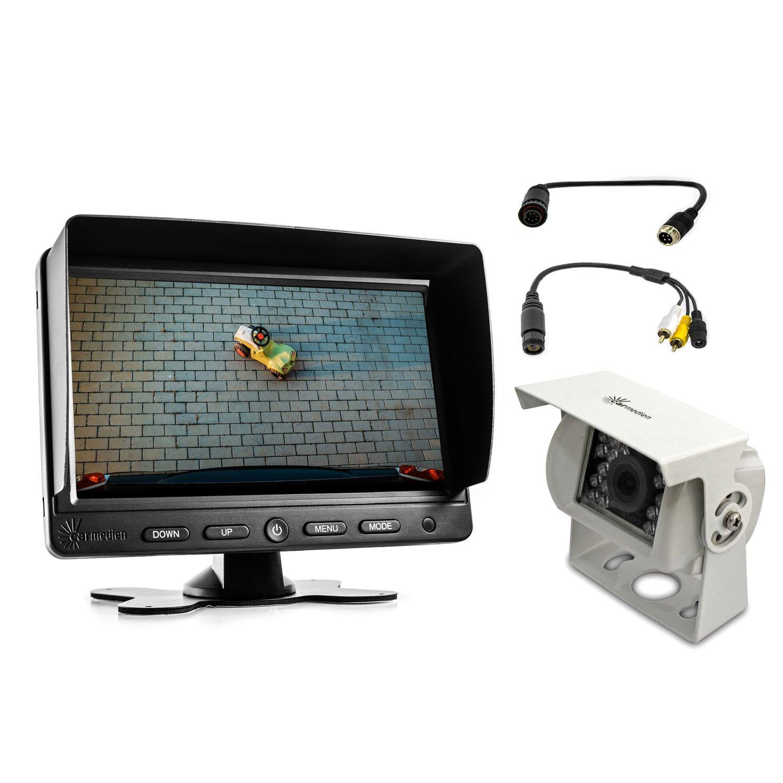 Telecamera posteriore e monitor 7 pollici per cavo collegamento di Waeco e due adattatori collegamento a vite 6 PIN Waeco a 4 PIN Telecamera e adattatore 6 PIN Waeco a Cinch per Monitor