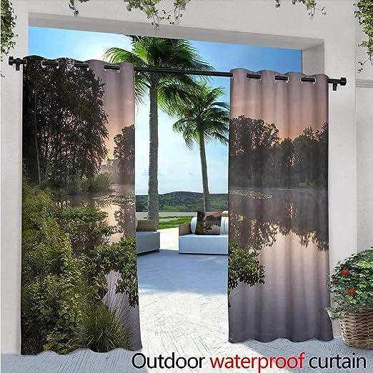 Forest - Cortina de privacidad para pérgola y Bosque en la mañana, árboles Altos, Troncos, Verde, Ambiente Natural, con Aislamiento térmico, Repelente al Agua, para balcón, Color Verde y marrón: Amazon.es: Jardín