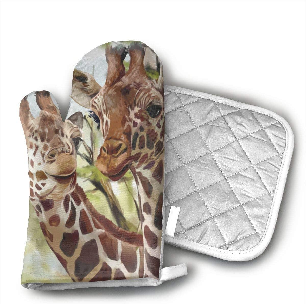QEDGC Watercolor Deer Giraffe Long Kitchen Cotton Coating Oven Mitts Heat Resistant Potholder Gloves Microwave Oven Glove