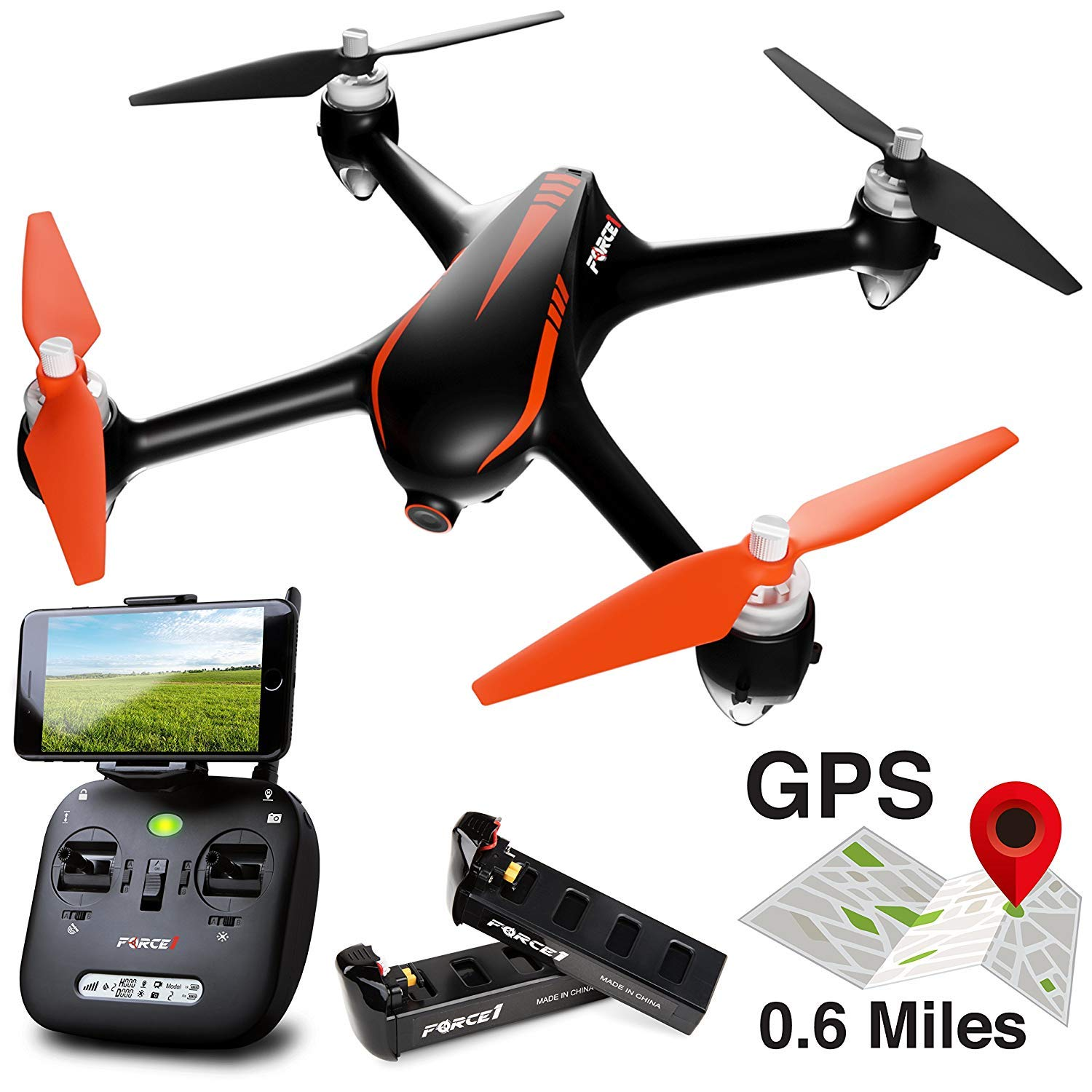 Force1 Drone with Camera Live Video and GPS Return Home Brushless Motors HD Drone 1080p Camera FPV MJX B2W Bugs 2 Quadcopter (Certified Refurbished)