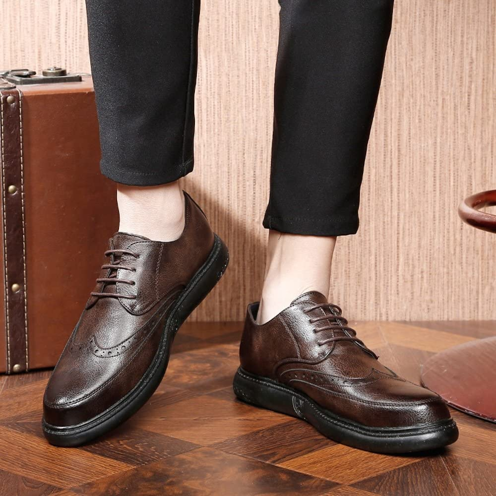 Color : Brown, Size : 8.5 M US Mens Lace Up Loafers Shoes Genuine Leather Casual Business Soft Outsole Flats Oxfords,Very Stylish