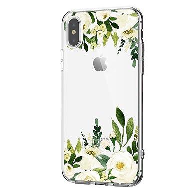 Teryei® Funda iPhone XS MAX iPhone XR Carcasa Silicona Transparente Suave Case Original Protectora Cristal Flores Anti-Golpes Caso Anti-Rasguño Cover ...