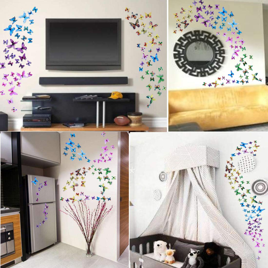Wall Decals Butterfly 3D Sticker Decor - 72PCS Home Decoration for Living Room, Kids and Teen Girls Removable Mural Wall Art, Baby Nursery Bedroom Bathroom, Waterproof DIY Crafts by Ewong (Image #5)
