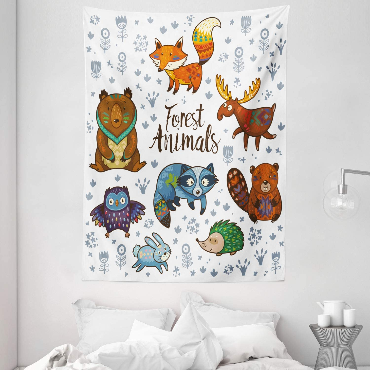 Amazon Com Ambesonne Cabin Tapestry Woodland Animals Tribal Nature Elements Kids Room Nursery Themed Art Print Wall Hanging For Bedroom Living Room Dorm Decor 60 X 80 Multicolor Home Kitchen