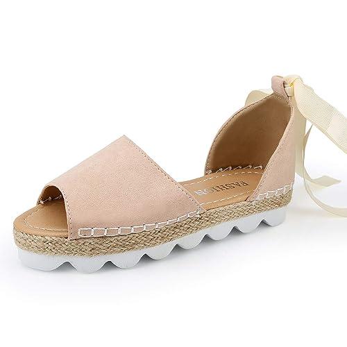Sandalias Mujer Verano Alpargatas Plataforma Cuña Bohemias Planas Mares Romanas Playa Gladiador Tacon Zapatos Zapatillas Negro Beige 35-44: Amazon.es: ...