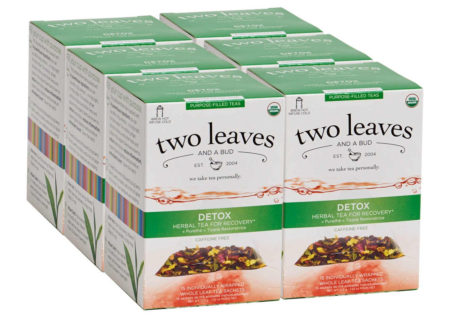 Two Leaves and a Bud Organic Detox Herbal Tea Bags for Recovery, 15 Count (Pack of 6) Organic Whole Leaf Herbal Tea in Pyramid Sachet Bags, Delicious Hot or Iced with Milk or Sugar or Honey or Plain