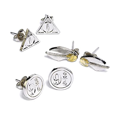 Amazon Com Harry Potter Official Stud Earring Set Of 3 Deathly