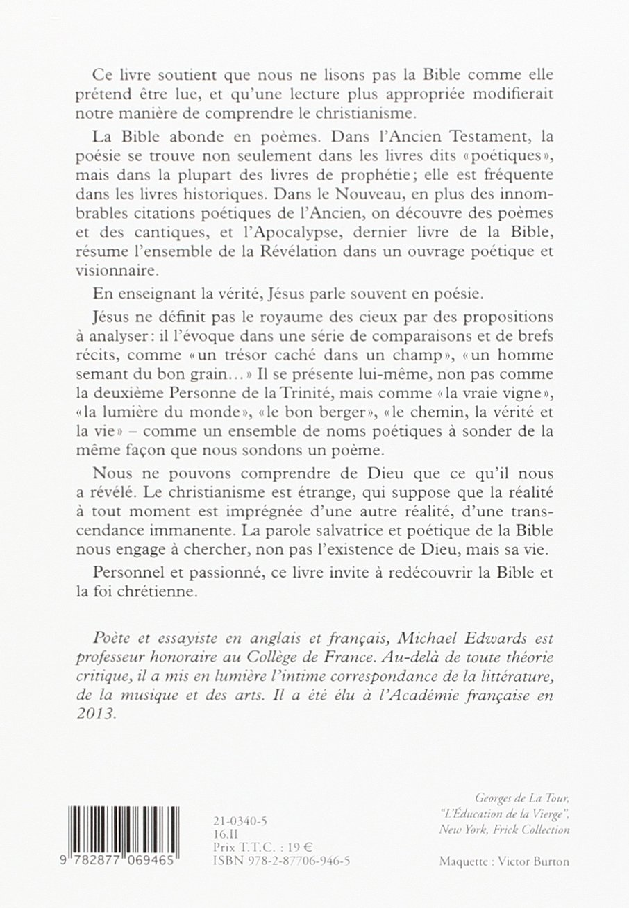 Bible Et Poesie French Edition Michael Edwards