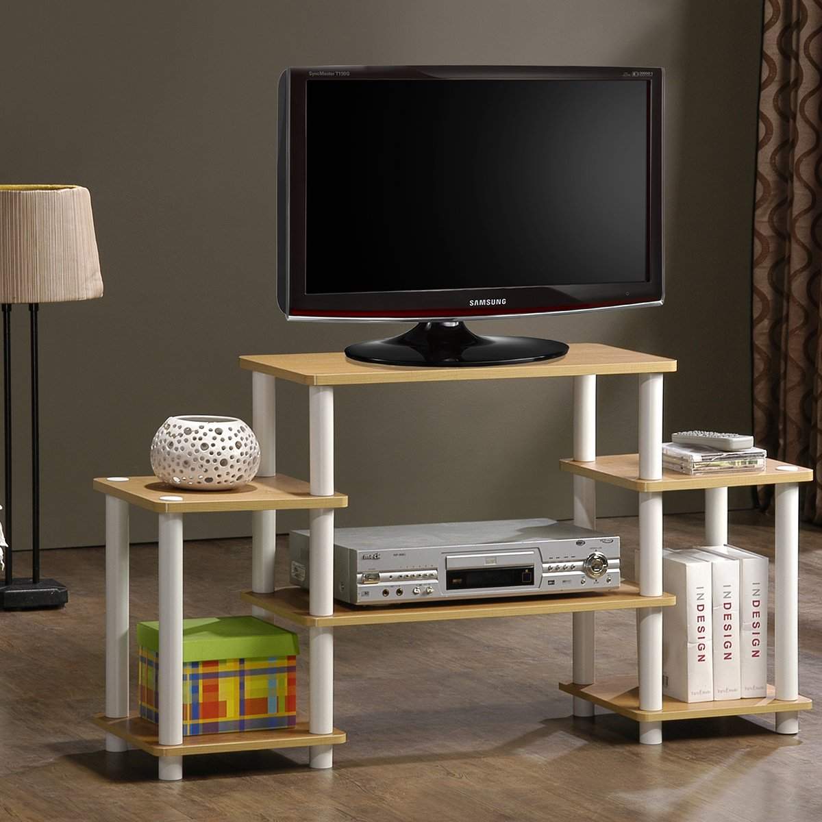 Furinno 11257BK/GY Turn-N-Tube No Tools Entertainment TV Stands, Black/Grey