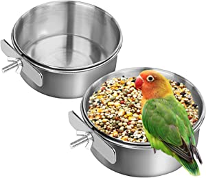 SAWMONG Bird Feeding Dish Cups Stainless Steel Parrot Feeding Cups, 2Packs