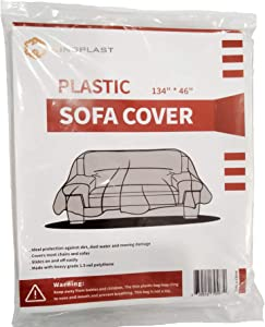 "Kingplast Plastic Sofa Cover for Storage and Moving, 134""x 46"" Dust-Proof Plastic Couch Cover for Indoor Outdoor Patio Furniture"