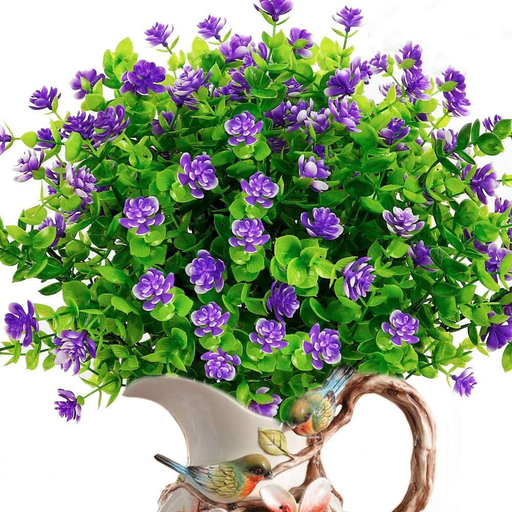 8 Bundles Artificial Flowers Outdoor UV Resistant Fake Plastic Plants Faux Greenery Shrubs Indoor Outside Hanging Planter Home Kitchen Office Wedding Garden Décor (Purple/8pcs)