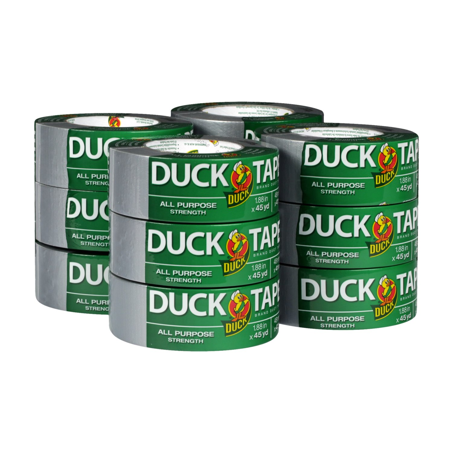Duck Brand 284358 All-Purpose Duct Tape, 1.88'' by 45 yd, Silver, 12 Rolls per Pack