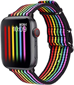 Bandmax Rainbow Watch Band Compatible for Apple Watch,LGBT Woven Nylon Wristband Replacement Sport Strap Compatible for iWatch Series 5/4/3/2/1 38MM/40MM All Models(Black Bottom with Black Buckle)