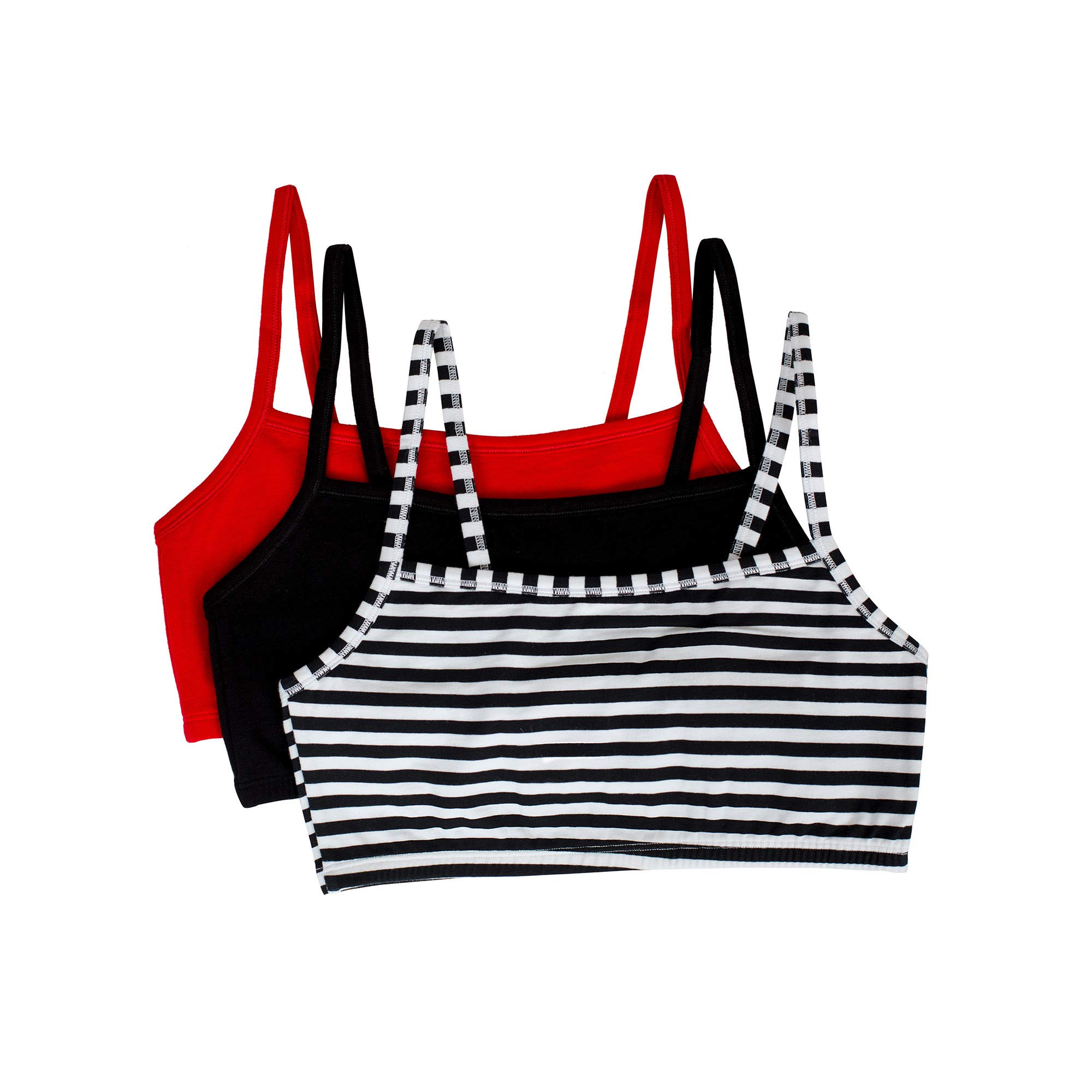 Fruit of the Loom Women's Cotton Pullover Sport Bra (Pack of 3) Bra, Skinny Stripe/Black/red hot, 32