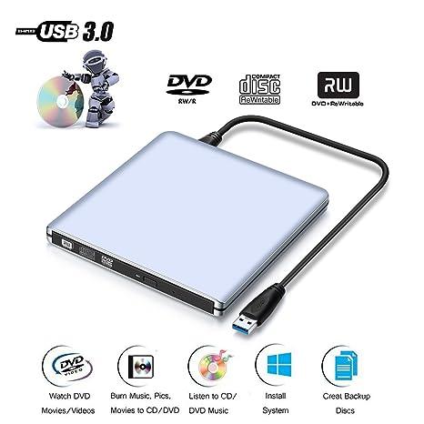 Externo DVD unidad de CD, asel USB 3.0 Grabadora de DVD/CD Plata para