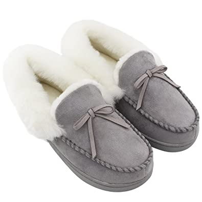 HomeIdeas Women's Faux Fur Lined Suede House Slippers, Winter Indoor Outdoor Moccasins Gray US Size 6