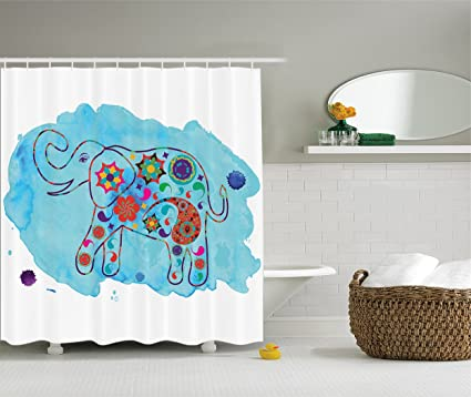 Ambesonne Watercolor Nature Decorations Shower Curtain Set Asian Thailand Elephant Colored In Paisleys Bathroom