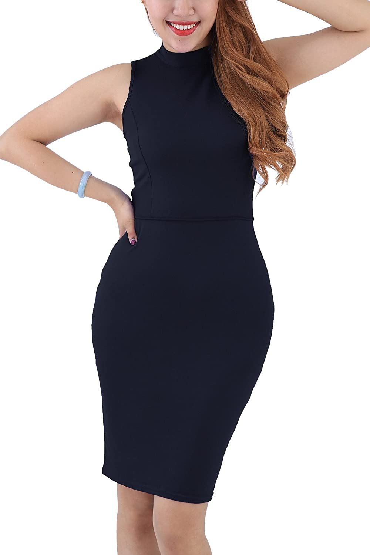 Yming Frauen reizvolle Sleeveless Verband-Kleider plus Größe Dehnungs- Bodycon-Verein-Kleid