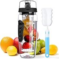 OMORC 32 OZ Sport Fruit Infuser Water Bottle, Flip Top Lid & Dual Anti-Slip Grips, BPA Free Infuser Water Bottle, Free…