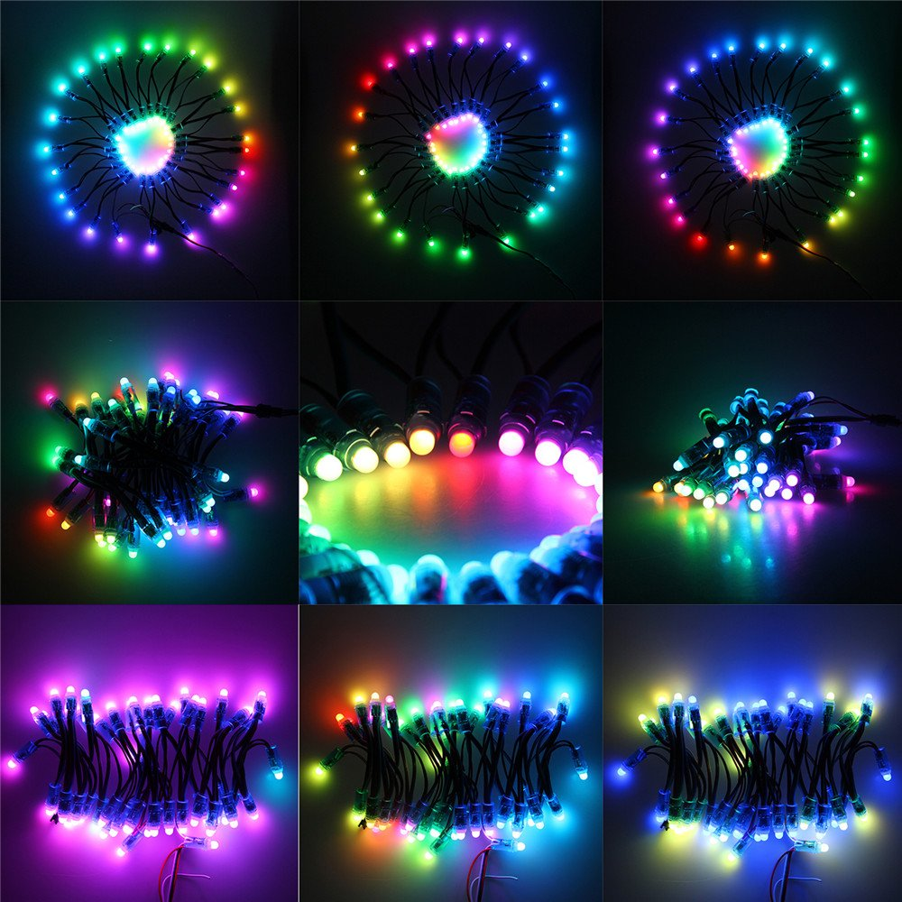Alitove Ws2811 12mm Diffused Digital Rgb Led Pixel Light 12 Volt Strip Wiring Diagram Free Picture Individually Addressable Round Pixels Module Ip68 Waterproof Dc 5v 50pcs Set