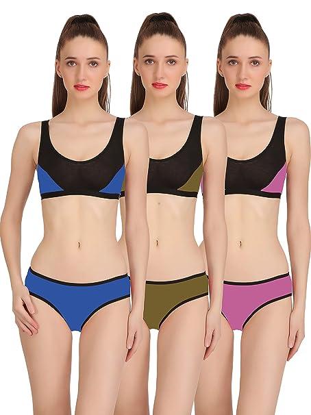 c37ee072e2 Fashion Comfortz Sports Bra and Panty Set Womens Girls Ladies Undergarments  Bra Panty Set for Women