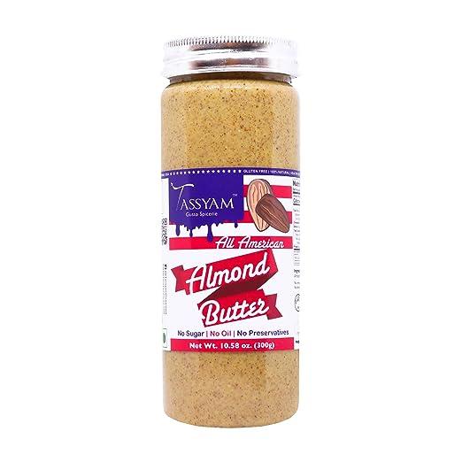 Tassyam Natural Almond Butter, 300g | Gluten Free, Keto Friendly, No Sugar, No Oil, No Preservatives