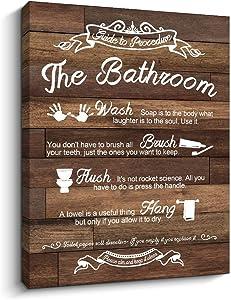 Bathroom Rules Sign Rustic Woodgrain Background Canvas Prints Art Wall Decor (Bathroom Rules-Brown, 12