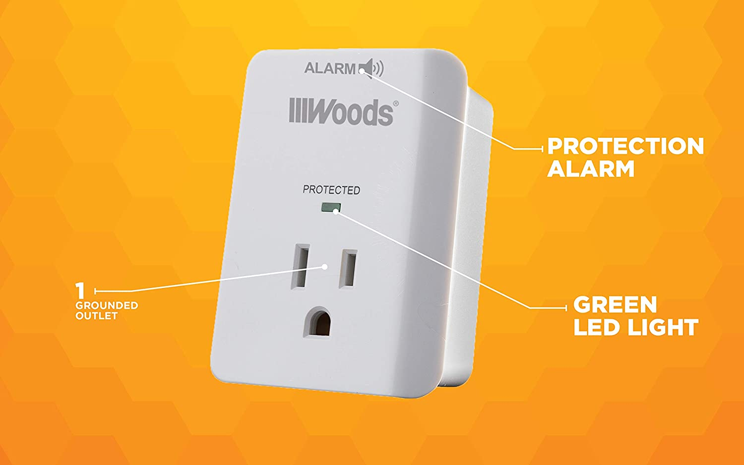 WOODS WIRE SOUTHWIRE 41008 Surge Protector One 3-prong Power Outlet LED Indicator Light and Alarm 1080J White