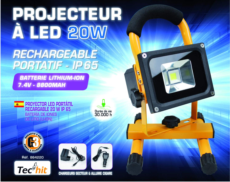 Tec Hit 864220 - Proyector led (20 W, recargable, IP65): Amazon.es ...