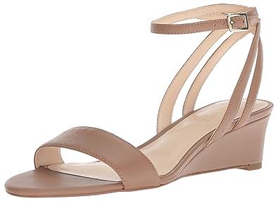 93a62cb61a Amazon.com | Nine West Women's Lewer Leather Wedge Sandal, Natural ...