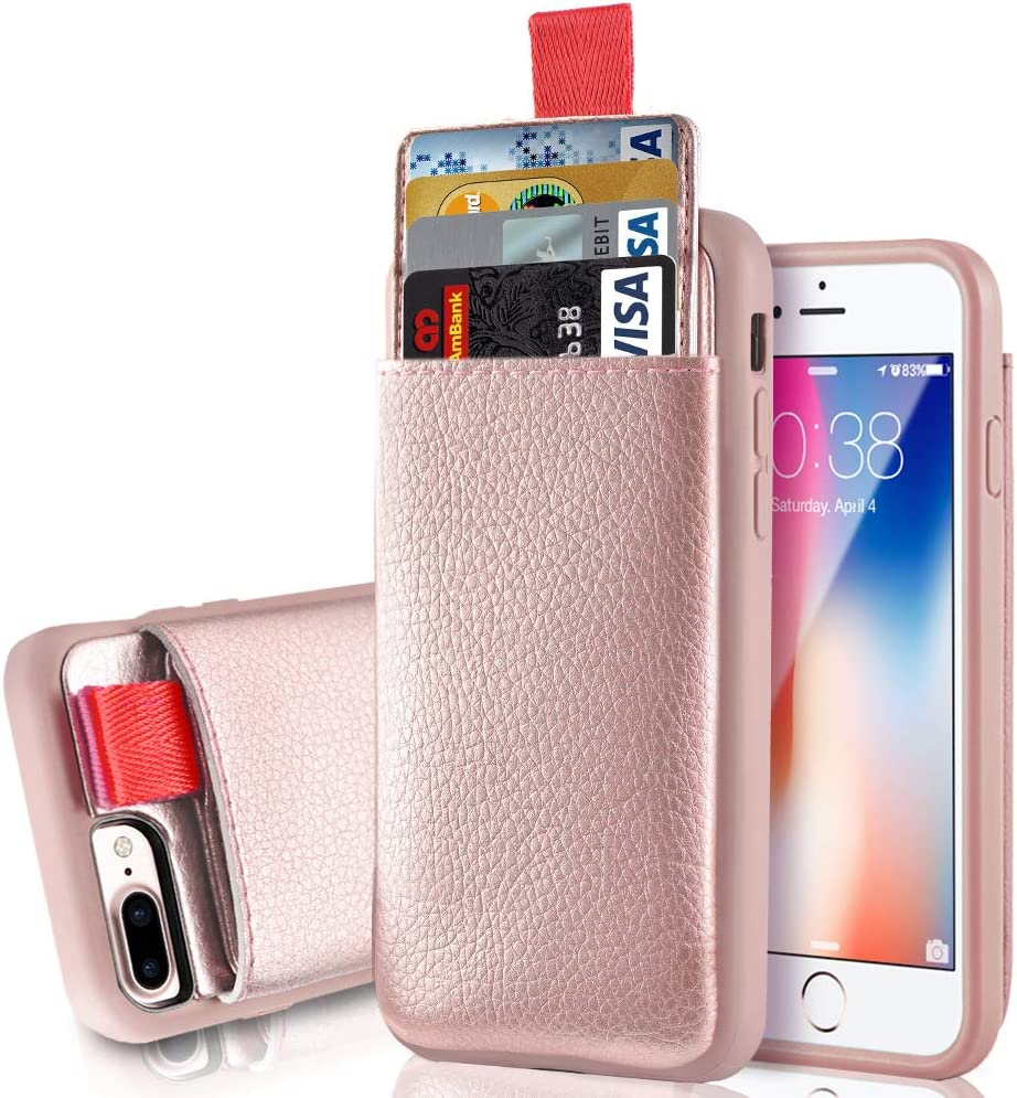 """iPhone 8 Plus Wallet Case, LAMEEKU Shockproof Apple 7 Plus Leather Cases with Credit Card Holder Slot & ID Card Slot Pockets, Protective Cover for Apple iPhone 7 Plus/ 8 Plus 5.5"""" Rose Gold"""