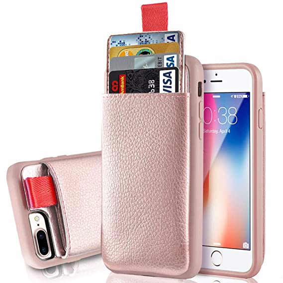 buy popular fd12e f886b LAMEEKU iPhone 8 Plus Wallet Case, Shockproof Apple 7 Plus Leather Cases  with Credit Card Holder Slot & ID Card Slot Pockets, Protective Cover for  ...
