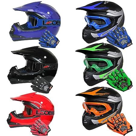 Leopard LEO-X19 *ECE 2205 Genehmigt* Kinder Motocross MX Helm Motorradhelm Crosshelm Kinderquad Off Road Enduro Sport + Hands