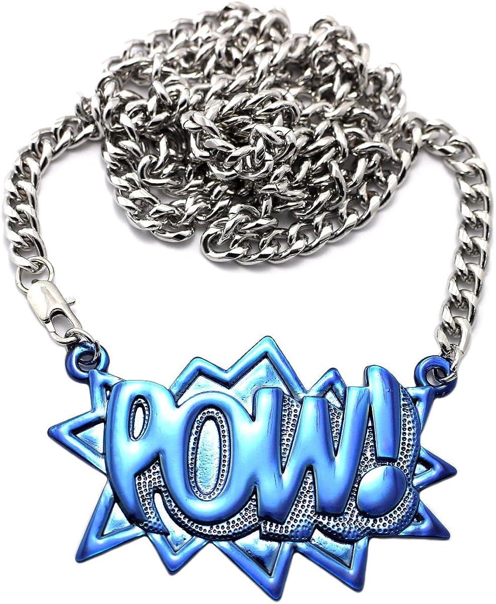 Rapper Pendant w// 6 Miami Cuban Chain Necklace NYFASHION101 POW Silver//Blue-Tone CP98R-BL