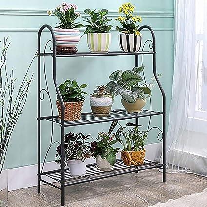 Image Unavailable & Amazon.com: KELE Floor Metal Flower Rack Shelves Plant StandIron ...